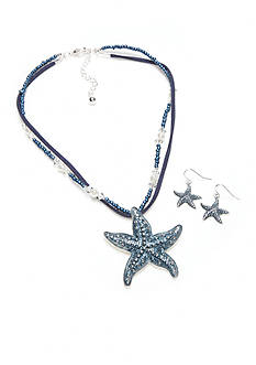 Kim Rogers Silver-Tone Blue Starfish Pendant Necklace and Earring Set
