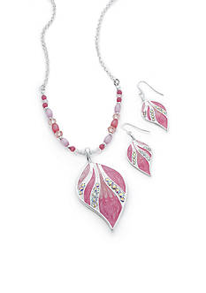 Kim Rogers Silver-Tone Pink Leaf Pendant Necklace and Earrings Boxed Set