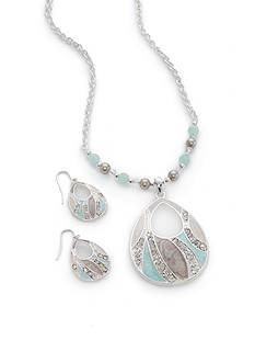 Kim Rogers Silver-Tone Aqua Oval Pendant Necklace and Earrings Set