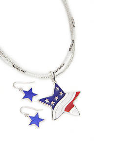 Kim Rogers Silver-Tone American Star Pendant Necklace and Earrings Boxed Set