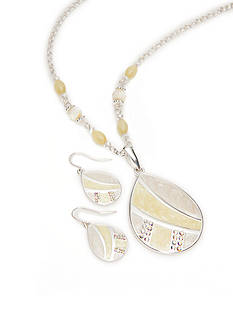 Kim Rogers Silver-Tone Yellow Teardrop Pendant Necklace and Earrings Boxed Set