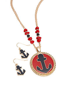 Kim Rogers Gold-Tone Anchor Pendant Necklace and Earrings Boxed Set