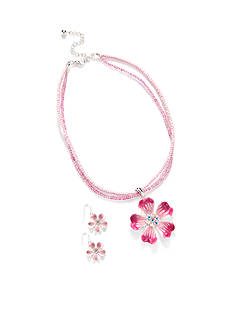 Kim Rogers Silver-Tone Pink Flower Pendant Necklace and Earrings Boxed Set