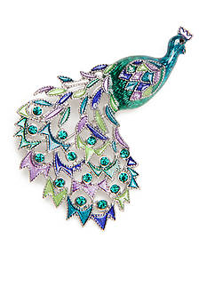 Kim Rogers Silver-Tone Peacock Boxed Pin