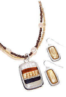 Kim Rogers Natural Tonal Necklace and Earring Set