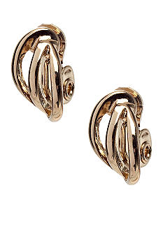 Napier Gold Triple Wire Clip Earrings