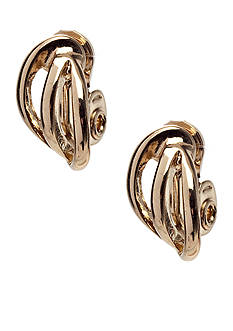 Napier Gold-Tone Triple Wire Clip Earrings