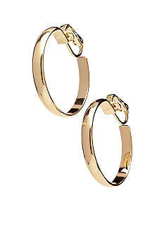 Napier Polished Gold Clip Hoop Earrings