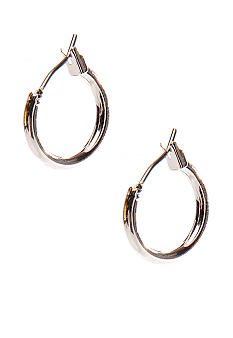 Napier Silver Tone Polished Flatwire Hoop Clip Earrings