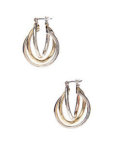 Napier Three Row Twisted Silver And Gold Tone Hoop Pierced Earring