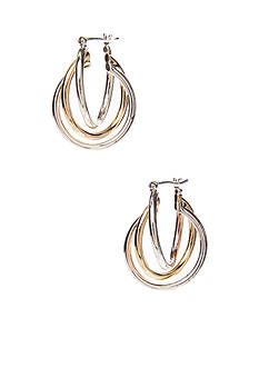 Napier Three Row Twisted Silver-Tone And Gold-Tone Hoop Pierced Earring