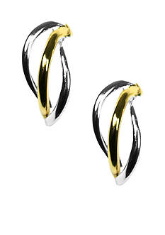 Napier Two Tone Triple Wire Earrings