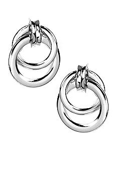 Napier Silver Tone Door Knocker Clip Earring