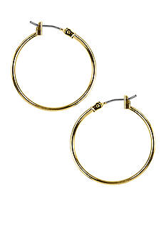 Napier Gold-Tone Tubular Hoop Earrings