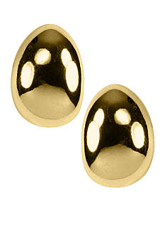 Napier Jewelry - Polished Gold Tear Shape Button Clip Earrings