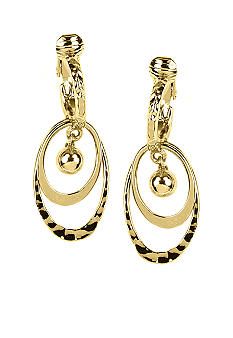 Napier Earring - Gold Clip Orbital Drop Hoop