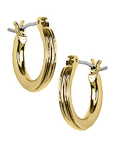 Napier Earring - Polished Gold Hoop with Textured Design