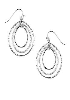 Napier Silver-Tone Three Oval Drop in Mixed Finishes Earrings