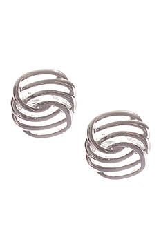 Napier Silver-Tone Clip Button Earrings