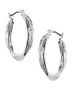 Napier Silver-Tone Polished and Laser Cut Twist Hoop Earrings