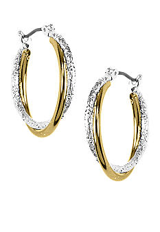Napier Two Tone Polished and Laser Cut Twist Hoop Earrings