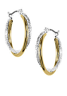 Napier Two-Tone Polished and Laser Cut Twist Hoop Earrings