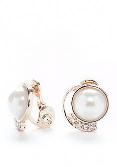 Napier Pearl Button Clip Earrings