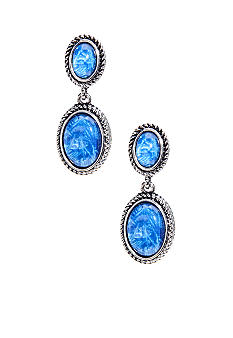 Napier Blue Cabochon and Antique Silver Double Drop Earring