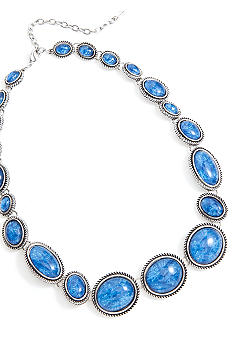 Napier Blue Cabochon Stone Collar Set in Antique Silver