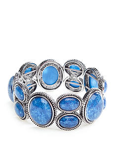 Napier Blue Cabochon Stone and Antique Silver Stretch Bracelet