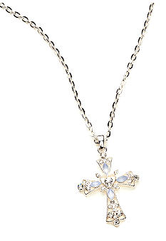 Napier Crystal Cross Pendant with Crystal Stud Earring Set