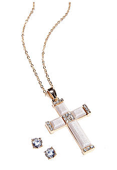 Napier Crystal Cross Pendant and Earring Set