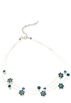 Napier Illusion Necklace with Blue Crystal Flowers