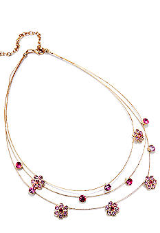 Napier Illusion Necklace with Pink Crystal Flowers