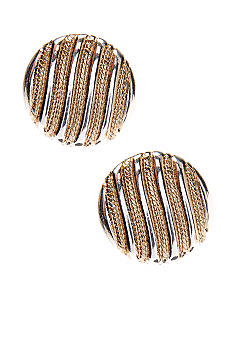 Napier Textured Button Clip Earrings