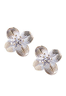 Napier Clip Button Flower Earrings