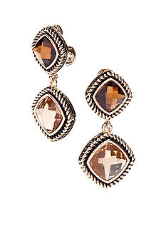 Napier Clip Double Drop Earrings