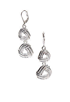 Napier Leverback Textured Drop Earrings