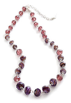 Napier Faceted Purple Bead Necklace