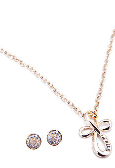 Napier Boxed Cross Pendant Necklace And Earring Set