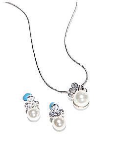 Napier Boxed Crystal Pendant Necklace And Earring Set