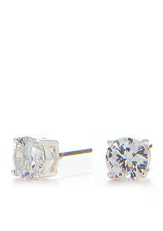 Napier Silver-Tone Crystal Stud Earrings