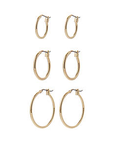 Napier Set of Three Gold-Tone Hoop Earrings