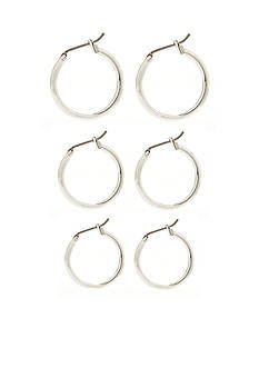 Napier Set of Three Silver-Tone Hoop Earrings