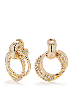 Napier Medium Gold-Tone Doorknocker Clip Earrings