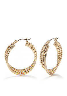 Napier Medium Gold-Tone Hoop Earrings