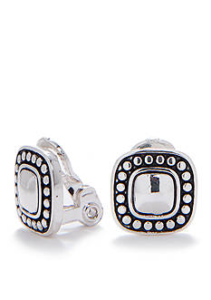 Napier Ez Comfort Antiqued Silver-Tone Button Clip Earring