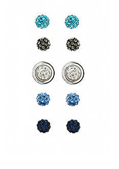 Napier Blue and Silver-Tone Interchangeable Stud Earring Set