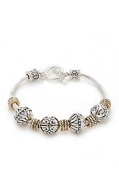 Napier Multi-Tone Beaded Slider Bracelet