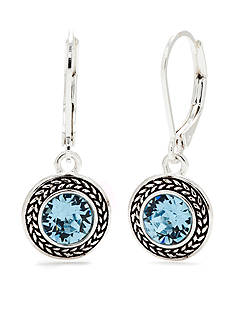 Napier Silver-Tone and Aqua Swarovski Crystal Drop Earrings